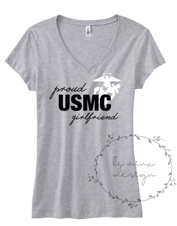 2986afbe Proud Marine Girlfriend GF Fiancee Wife Wifey - WOMEN UNISEX - Marine Corps  Usmc, Navy