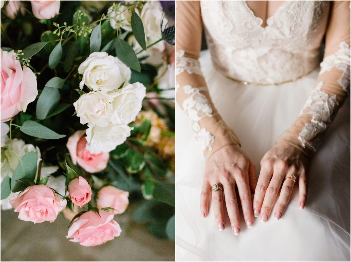 Gorgeous pink and white wedding flowers and a wedding gown with lace