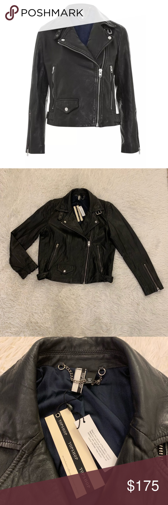 Black Real Leather Lucky Moto Biker Jacket NWT