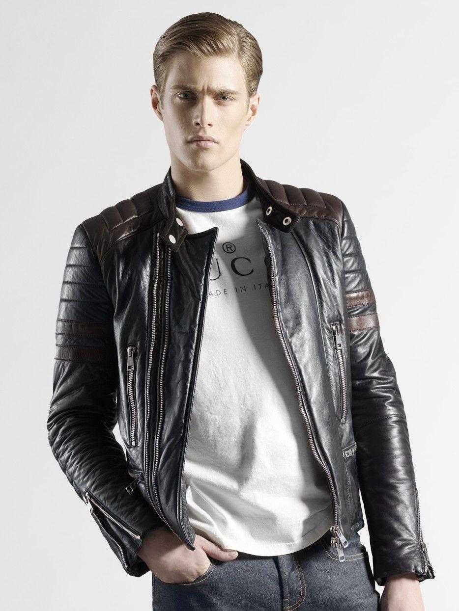 Gucci Black Leather Biker Jacket For Men Black Leather Biker Jacket Jackets Men Fashion Leather Jacket Men [ 1245 x 934 Pixel ]
