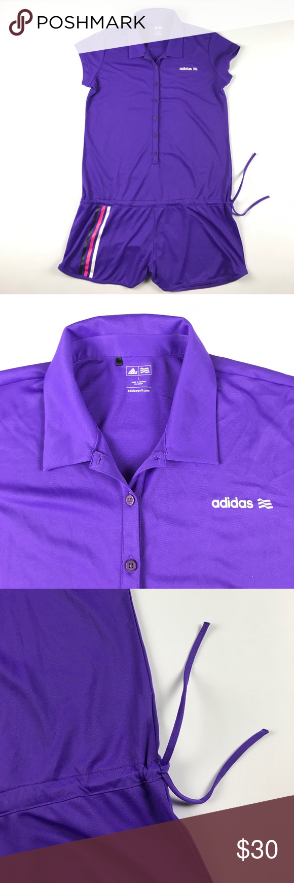 6cf7f56964e Large Adidas Golf Romper Suit Purple Polyester Measures 20 inches side to  side and 34 inches