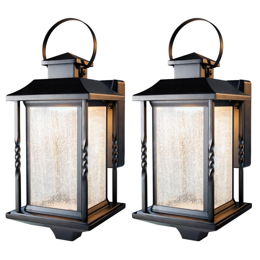 Home Decorators Collection Portable Black Outdoor Integrated Led Wall Lantern Sconce 2 Pack Hdi 4632 Bk 2 The Home Depot Large Outdoor Lanterns Wall Lantern Wall Mount Lantern