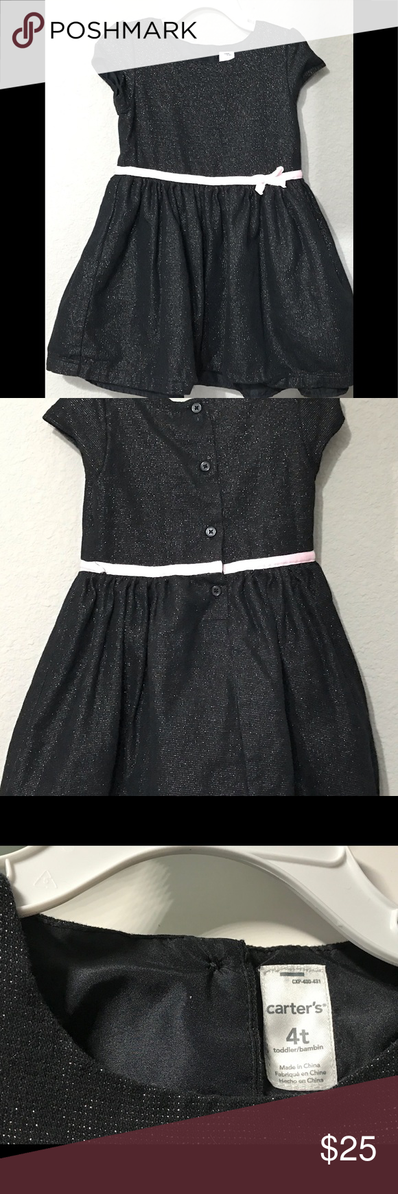 Carter S Black Special Occasion Dress 4t Short Sleeve With Pink Waist Band And Bow The Body Is 90 Cotton Li Occasion Dresses Special Occasion Dresses Dresses [ 1740 x 580 Pixel ]