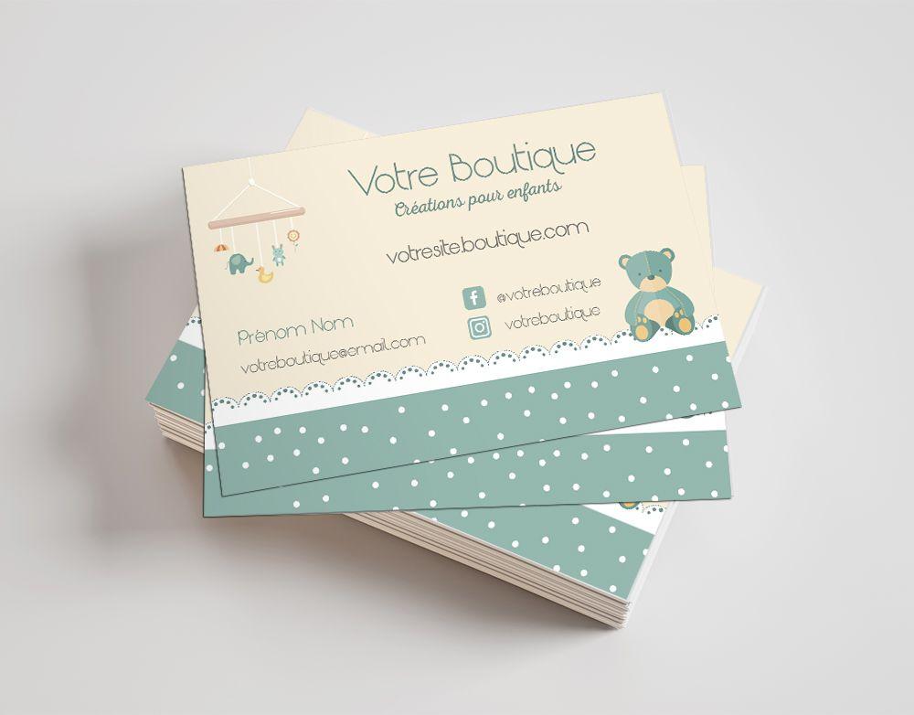 Carte De Visite Sur Mesure Boutique Creations Artisanales Pour Enfants Et Bebe Cartedevisite