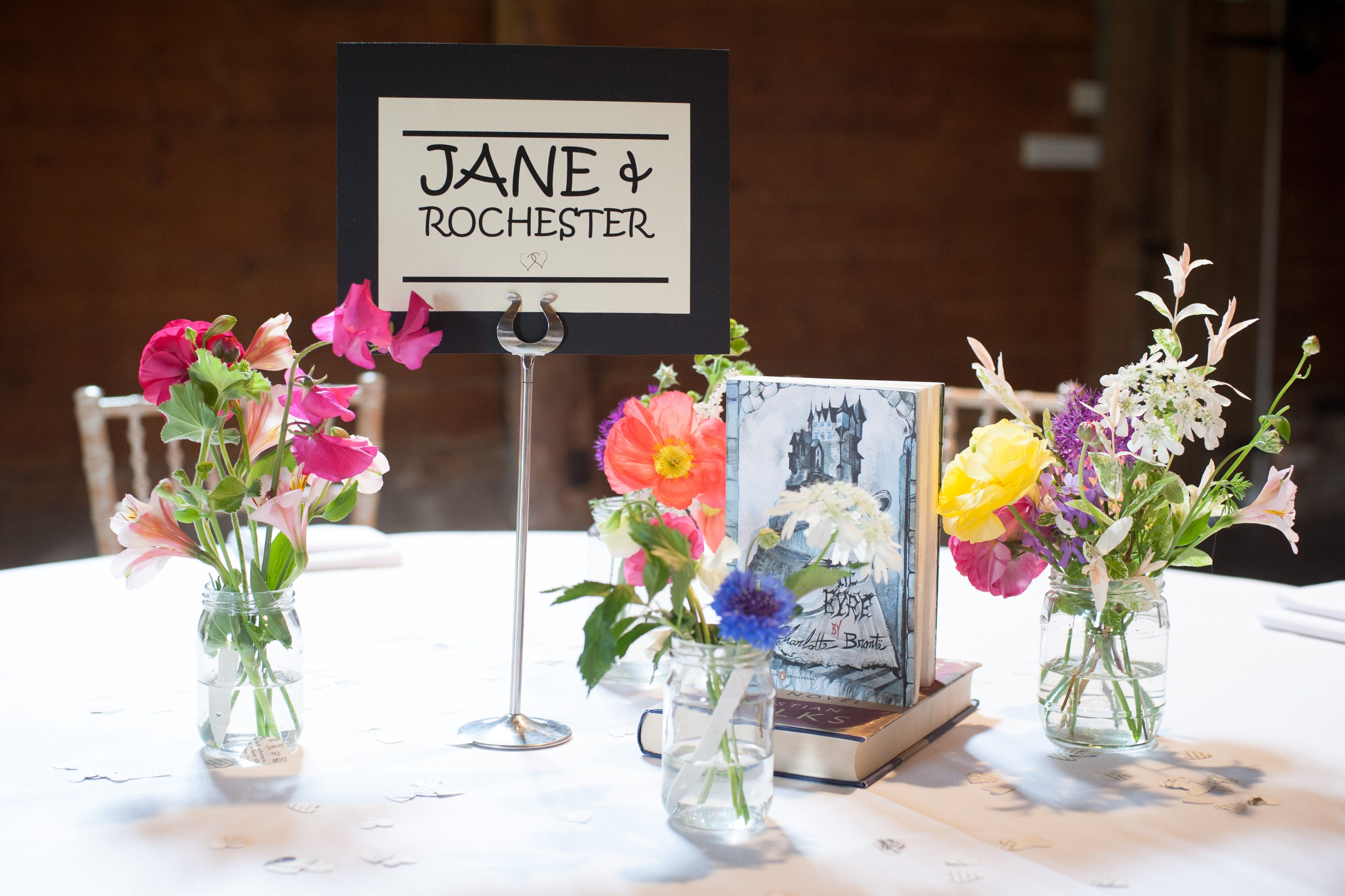 literature wedding theme- continuing the literary theme on