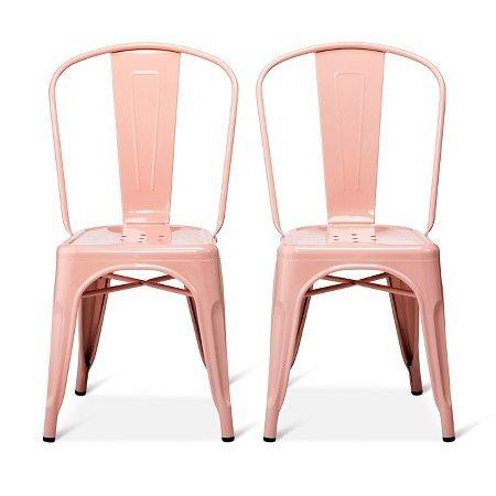 carlisle high back metal dining chair set of 2 target pink