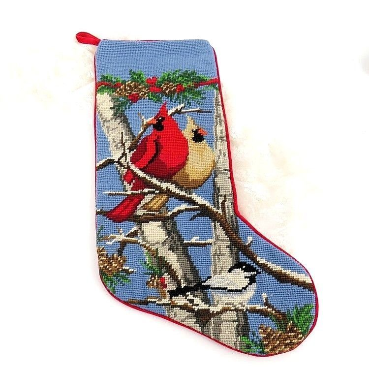 LL BEAN Christmas Stocking Needlepoint Petit Point