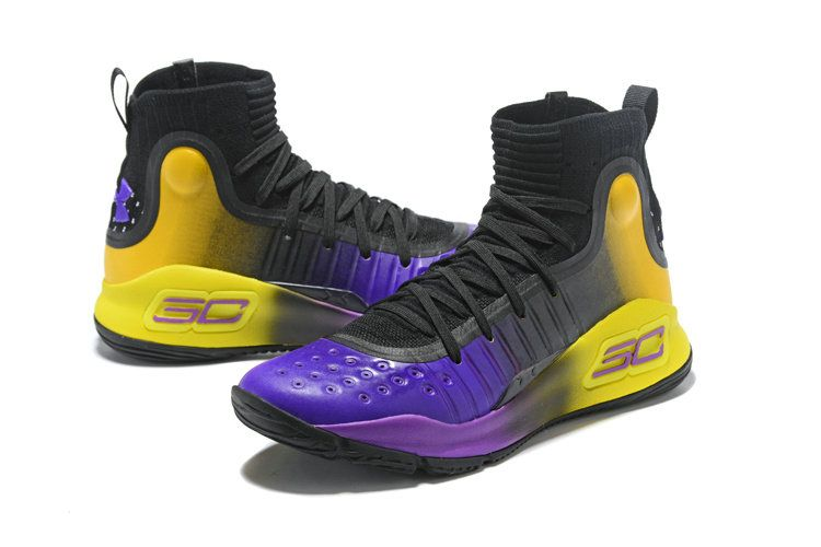 fc666e5efb2e Mens Under Armour Curry 4 Mid Basketball Shoes Black Purple Yellow Size 10