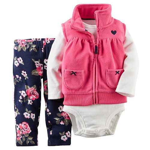 Carter S Girls 3 Piece Pink Fleece Vest With Embroidered