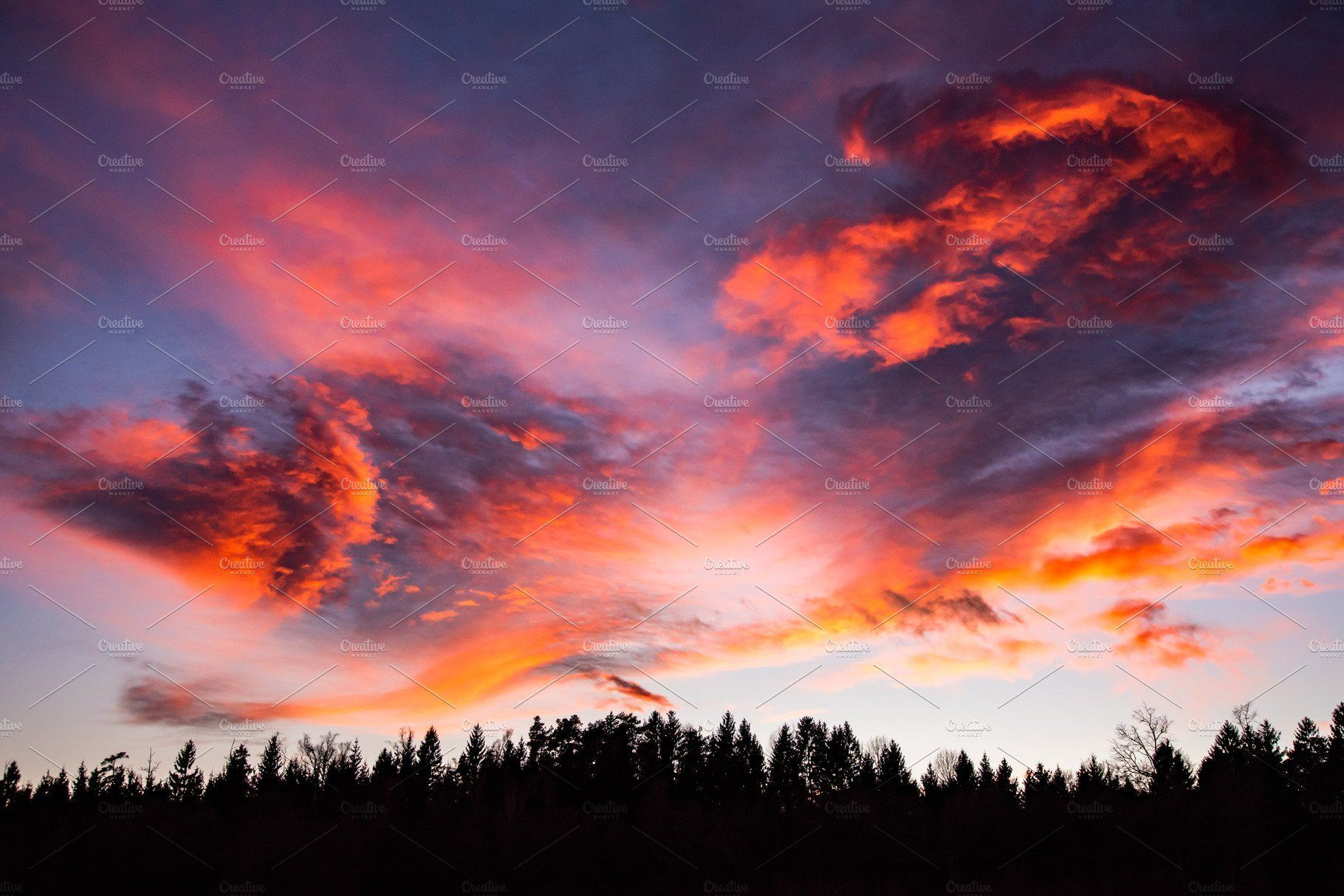 Sunset Over Forest With Dramatic Sky And Colorful Clouds Nature Photography Climate Sunset Landscape Photography Outdoor Photography Nature Nature Photography