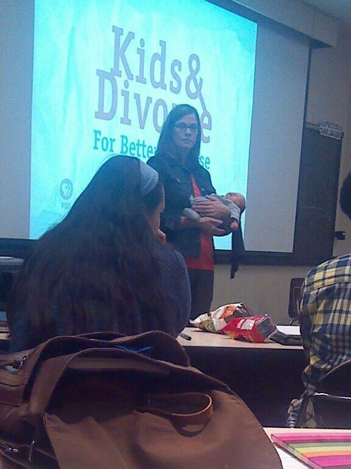 via   skyurs:      Student brought their baby to class and our professor got so excited she asked to hold him and just continued with her lecture like she wasn't holding an infant dressed as batman.