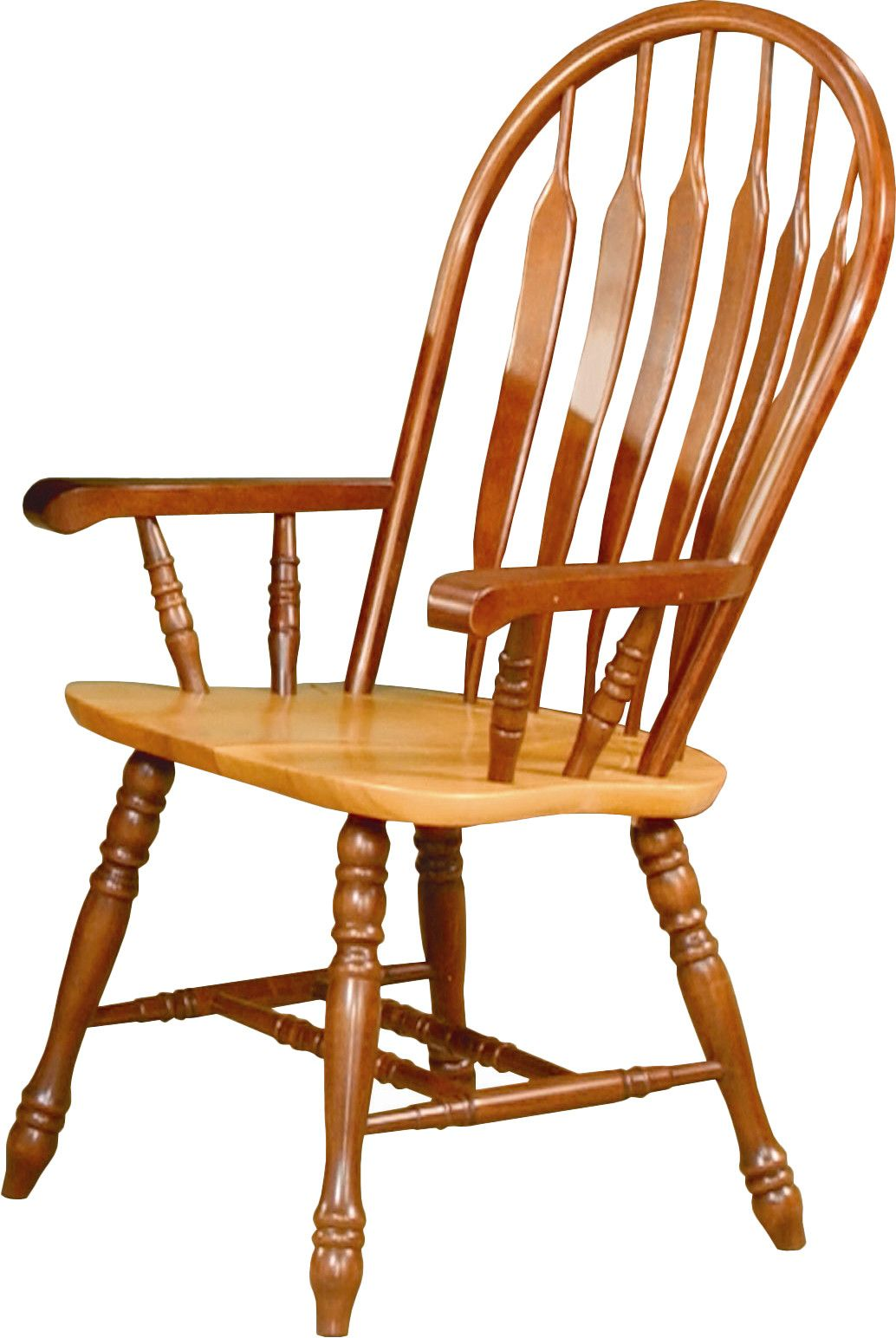Malaysian oak windsor back arm chair solid wood dining