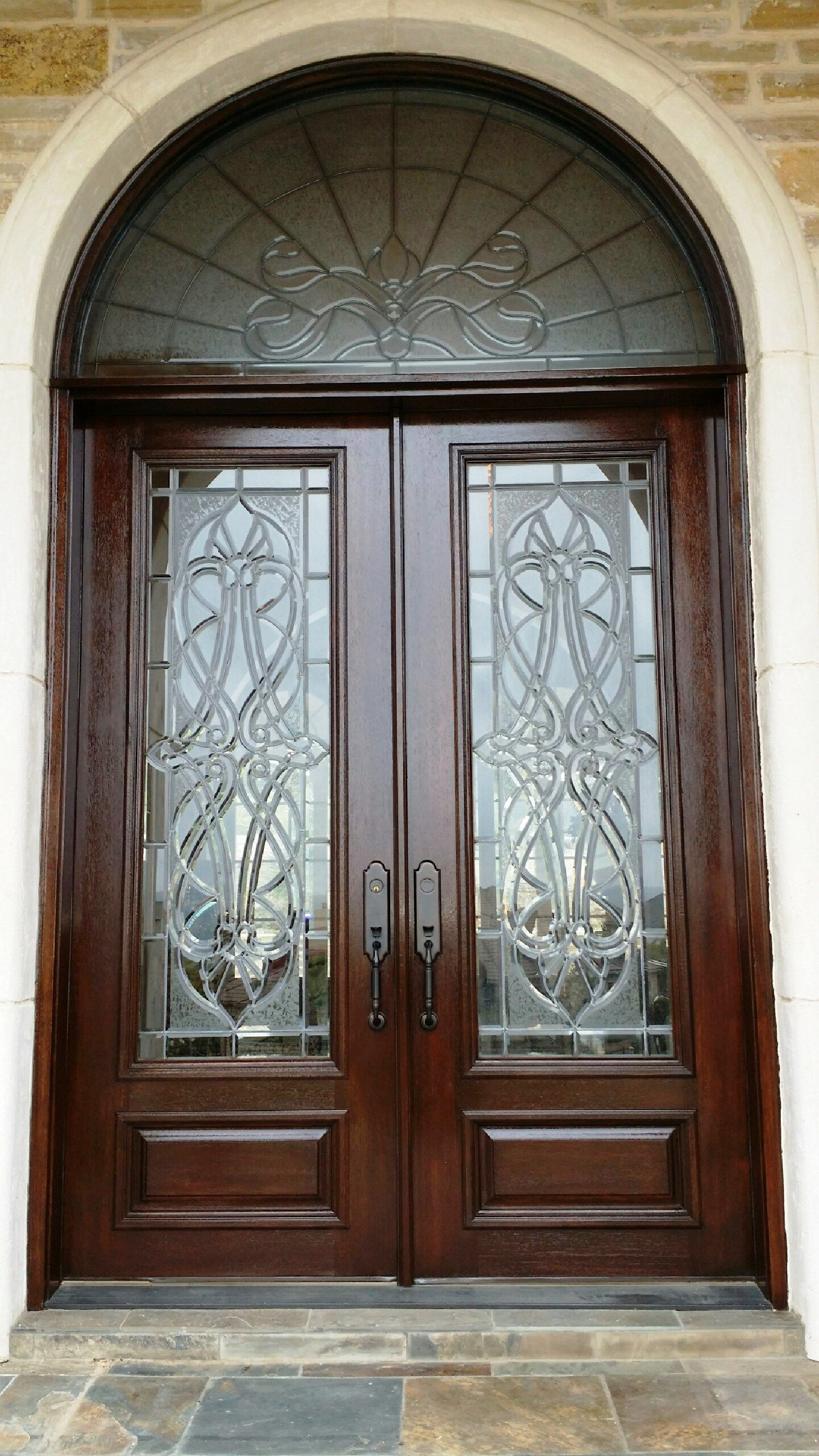 Decorative Glass Double Door With Stunning Transom Front Door