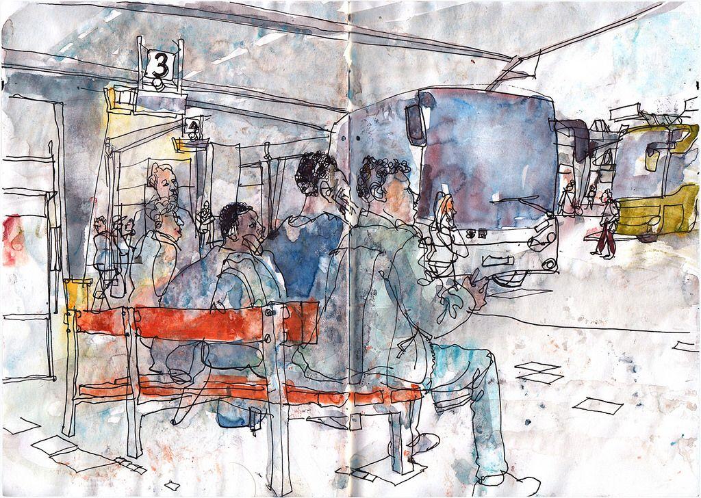 berlin bus station rolf schroeter arte pinterest bus station sketchers and sketches. Black Bedroom Furniture Sets. Home Design Ideas