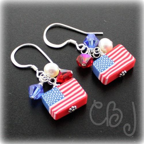 American Patriotic Jewelry | American Flag Fimo Earrings