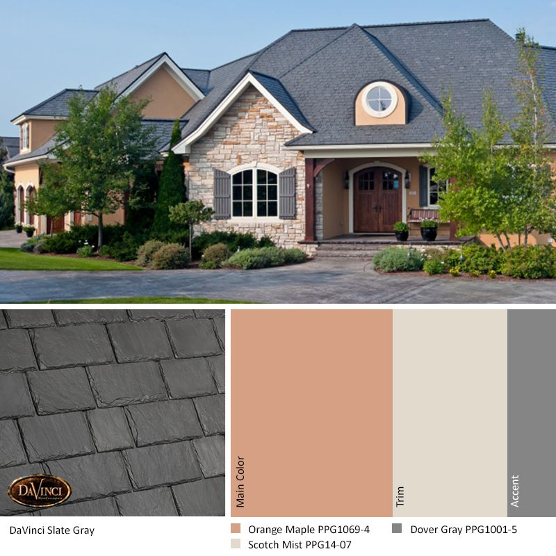 Best Davinci Slate Gray Orange Maple Home Exterior Color 400 x 300