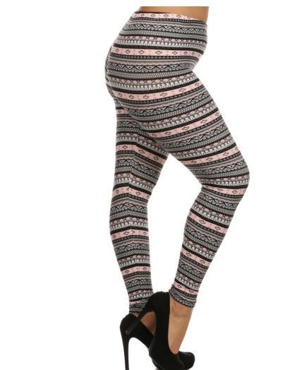 Plus size leggings, pants, yoga, pink and black one size fits 1x ...