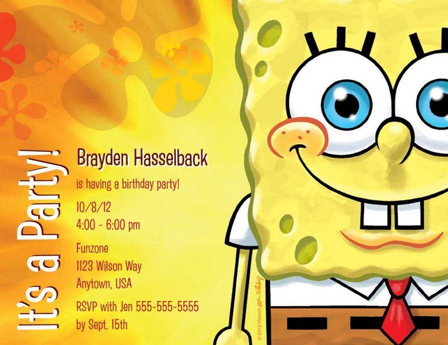 www.craftylilmomma.com - Spongebob birthday invitation | Spongebob ...