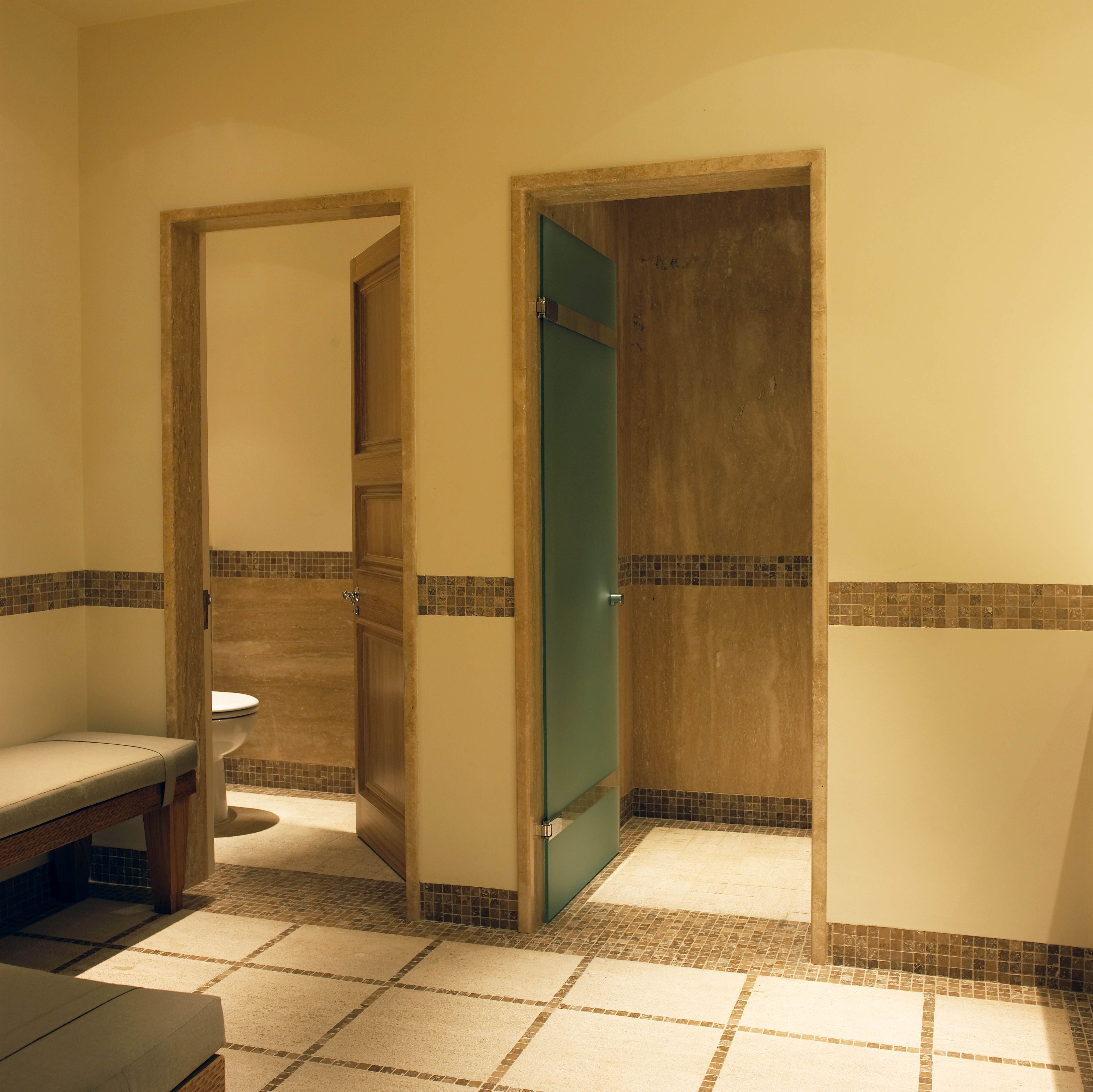Swimming Pool Changing Rooms Marble And Wooden Details