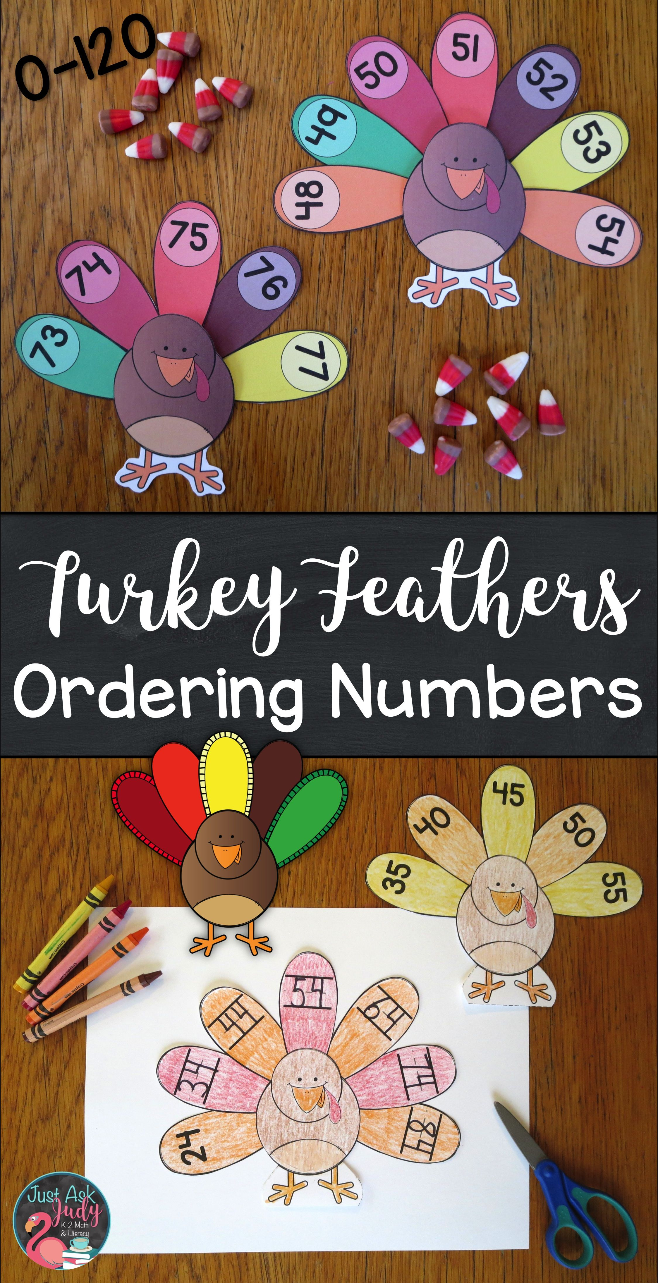 Ordering Numbers 0-120 Turkey Feathers | Maths resources, Pre-school ...