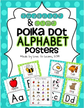 Looking for some alphabet posters to brighten up your classroom walls? Try these posters with fun turquoise & lime polka dot borders. This digital download contains:- 1 student picture alphabet- 26 full-page color alphabet posters- 26 half-page color alphabet postersPrint these out, laminate and display around your classroom!**Please note that colors may vary slightly depending on your printer**Thanks for looking!- Love to Learn, 2014