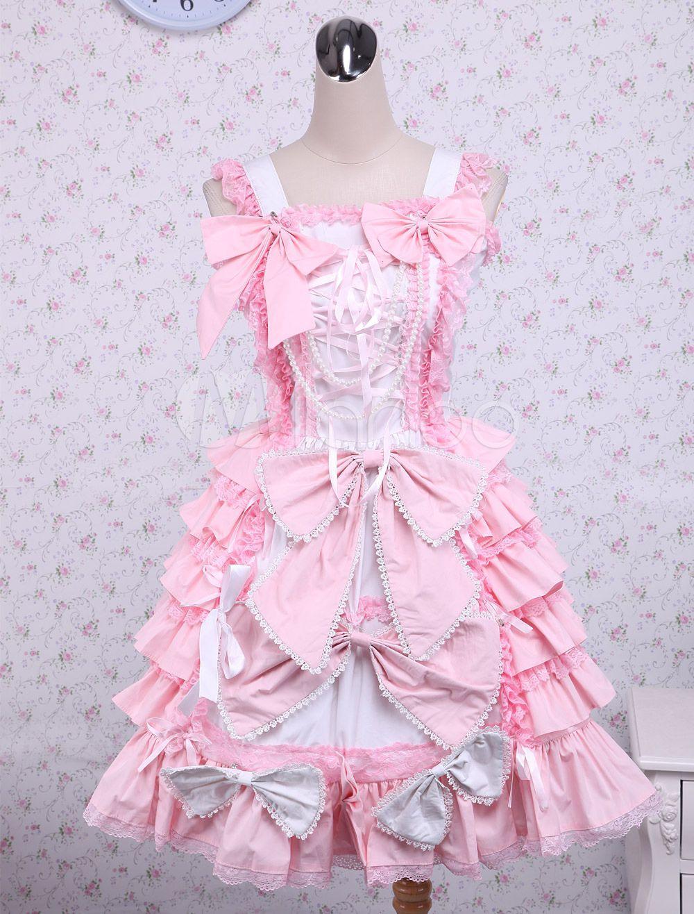 Dulce Rosa Algodón Loltia Vestido Lazo Capas Volantes   Vestiditos