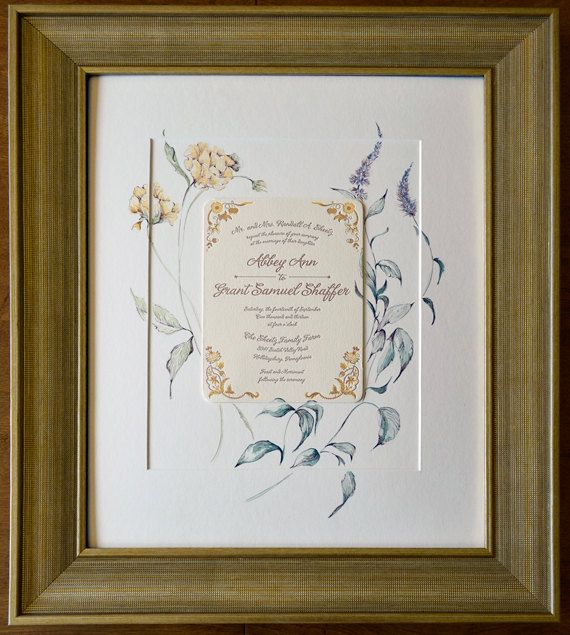 Keepsake Wedding Gifts: Large Wedding Invitation Painting/16x20/Framed/Art With