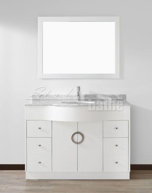 Zoe 48 Inch White Bathroom Vanity Stone Countertop