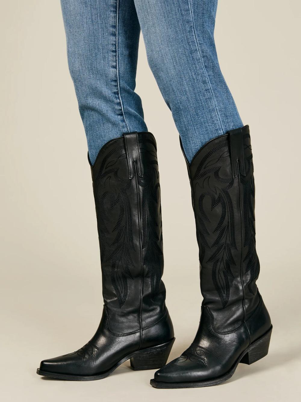 The Giada Tall Cowboy Boot Western Inspired Boot Black Leather M Gemi Boots Black Cowboy Boots Outfit Black Leather Cowboy Boots [ 1333 x 1000 Pixel ]