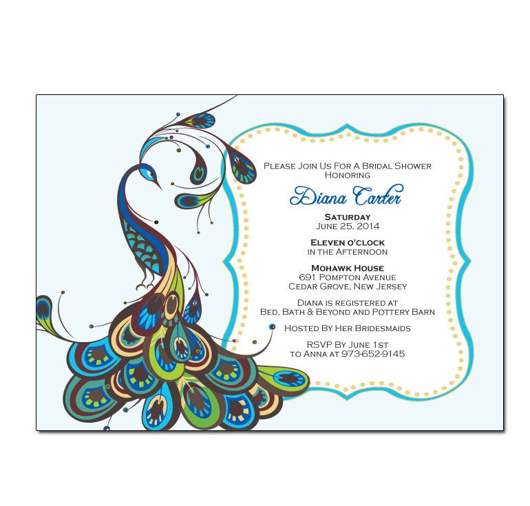 Peacock Bridal Shower Invitation With Frame DIY PRINTABLE Digital File Or Print Extra By