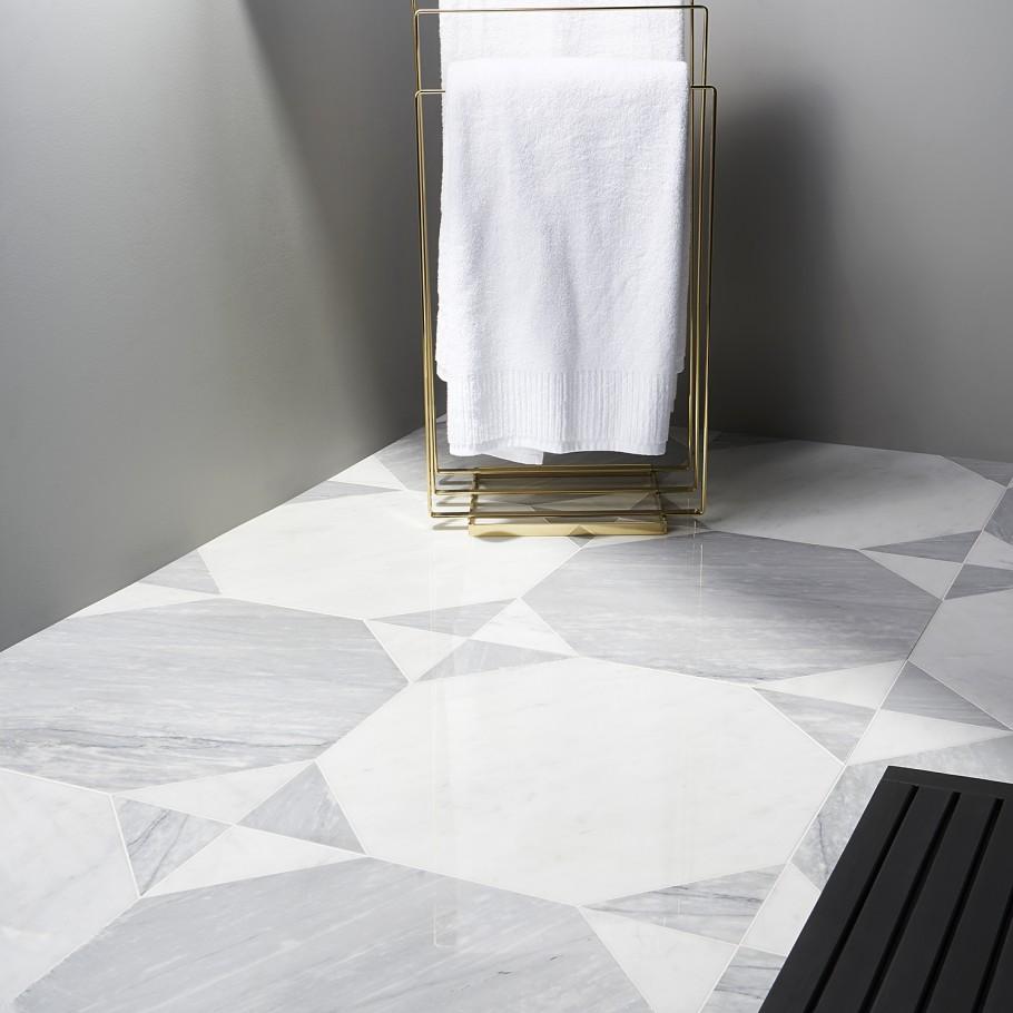 Pantheon Carrara And Italian Gray Wood Mosaic Tile In 2020 Wood Mosaic Tile Wood Mosaic Grey Wood