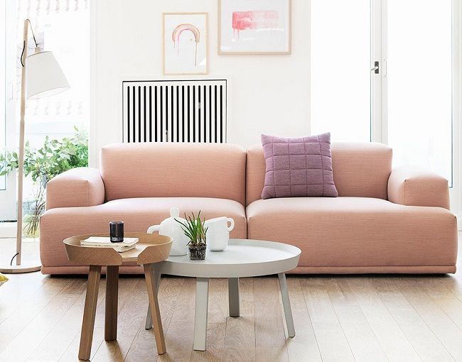 Fabulous pretty pale pink fabric sofas