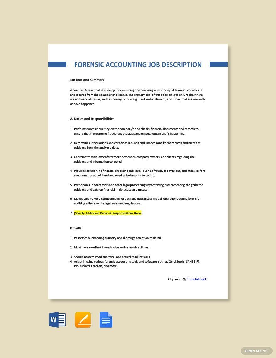 Free Forensic Accounting Job Description Template In 2020 Job Description Template Jobs For Teachers Job Description