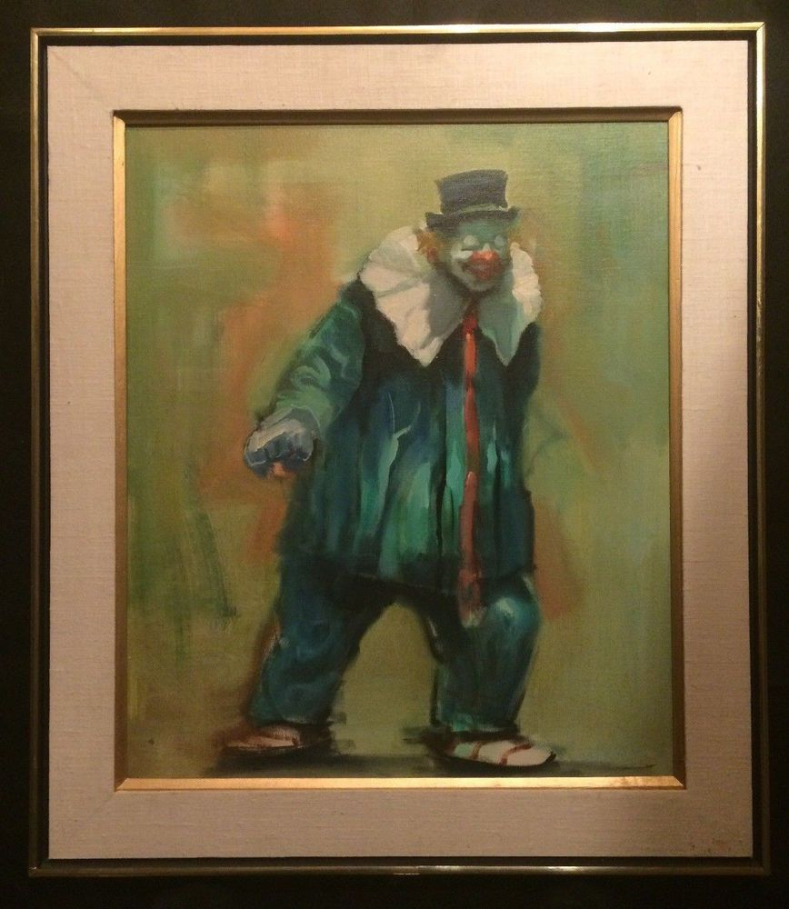 Vintage Oil Painting Of A Clown by Joseph Camp- Signed by Artist