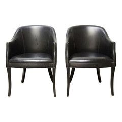 Vintage Black Leather Chairs - A Pair - Chairish