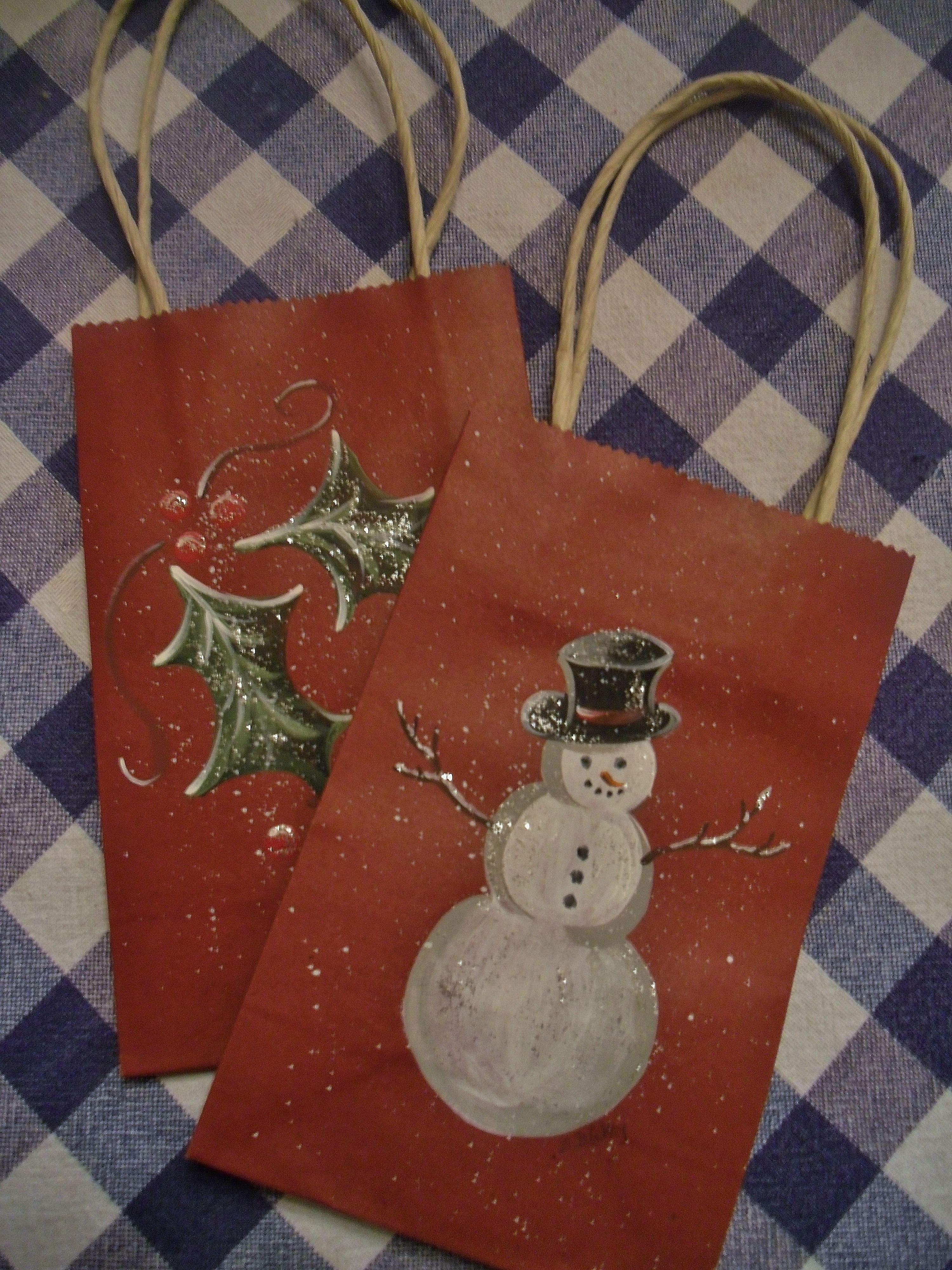 Christmas Gift Bags Ideas.Handpainted Gift Bags Christmas Christmas Gift Bags