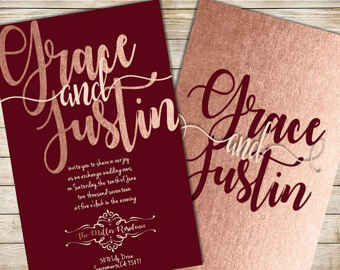 Burgundy and Blush Wedding Invitation Burgundy Wedding Invitation