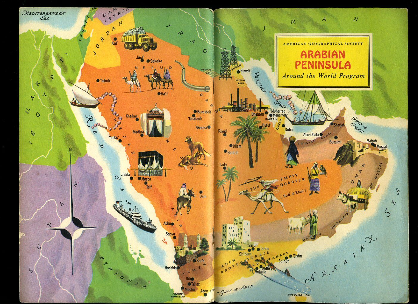 Arabian peninsula american geographical society around the world arabian peninsula american geographical society around the world program vintage map book cover gumiabroncs Choice Image