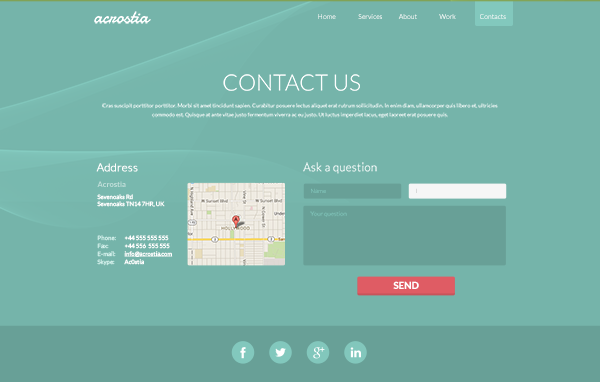One Page Website Template Psd 5 | Places to Visit | Pinterest