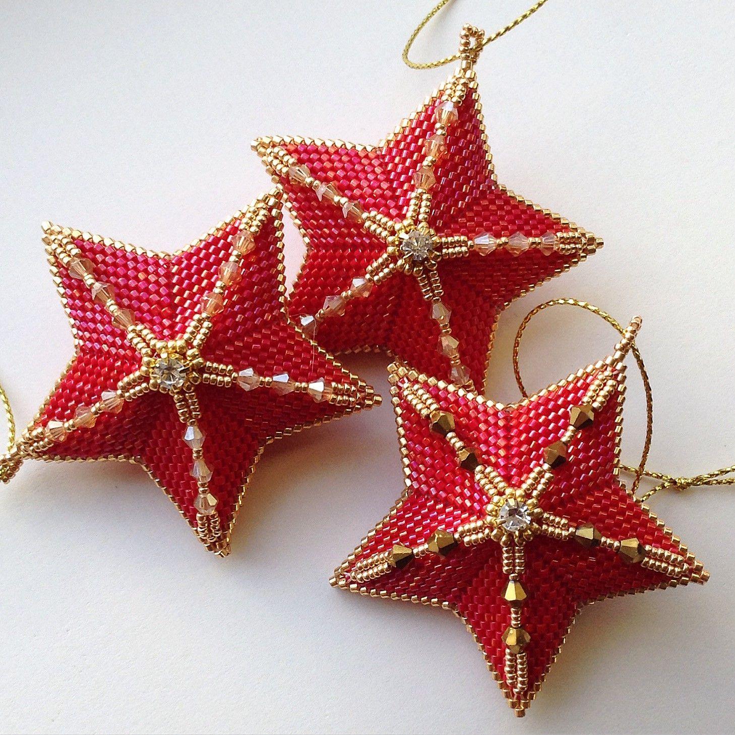Christmas Stars Christmas Star Star Ornament Beaded Christmas Ornaments
