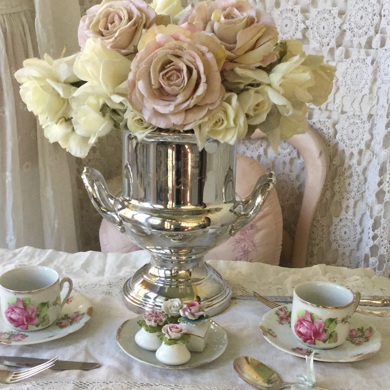 Beautiful vintage Silverplate trophy style champagne bucket perfect for your festivities or makes a lovely centerpiece in your shabby cottage style home  Available at Fanny Pippin