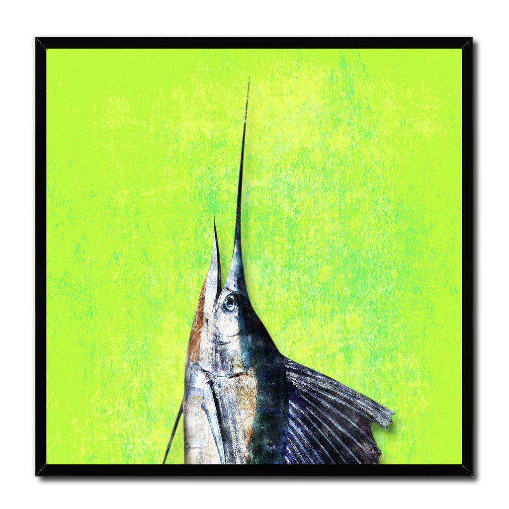 Sailfish Fish Head Art Green Canvas Print Picture Frame Wall Home Decor Nautical Fishing Gifts