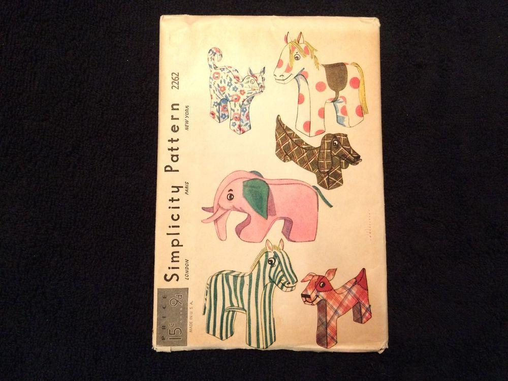 Zebra Kitty Elephant Horse 1930s VERY OLD Stuffed Animals Pattern ~ Dog