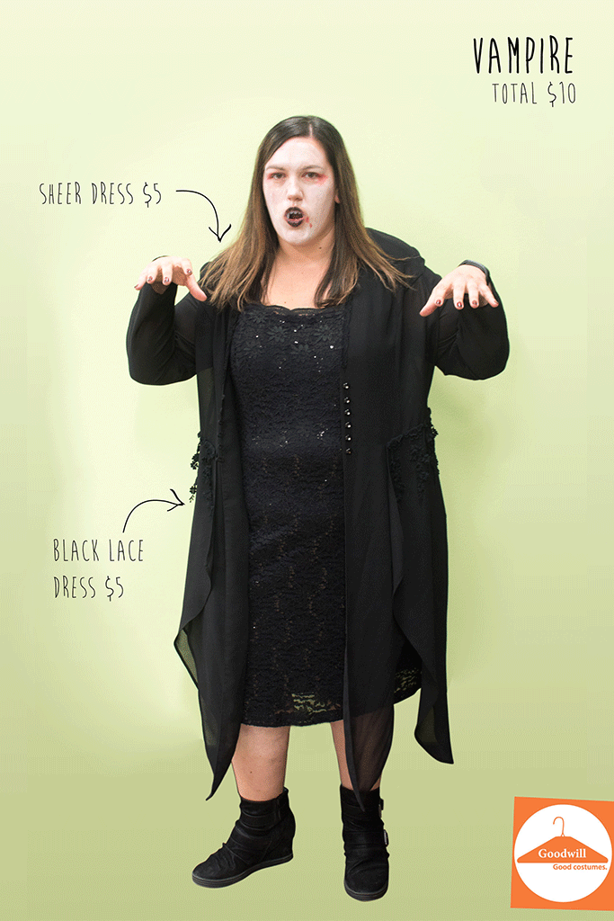DIY Vampire costume from Goodwill Vampire costume diy