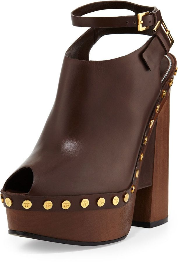3f855bb245 Tom Ford Calfskin Platform Clog Sandal, Caramel on shopstyle.com ...