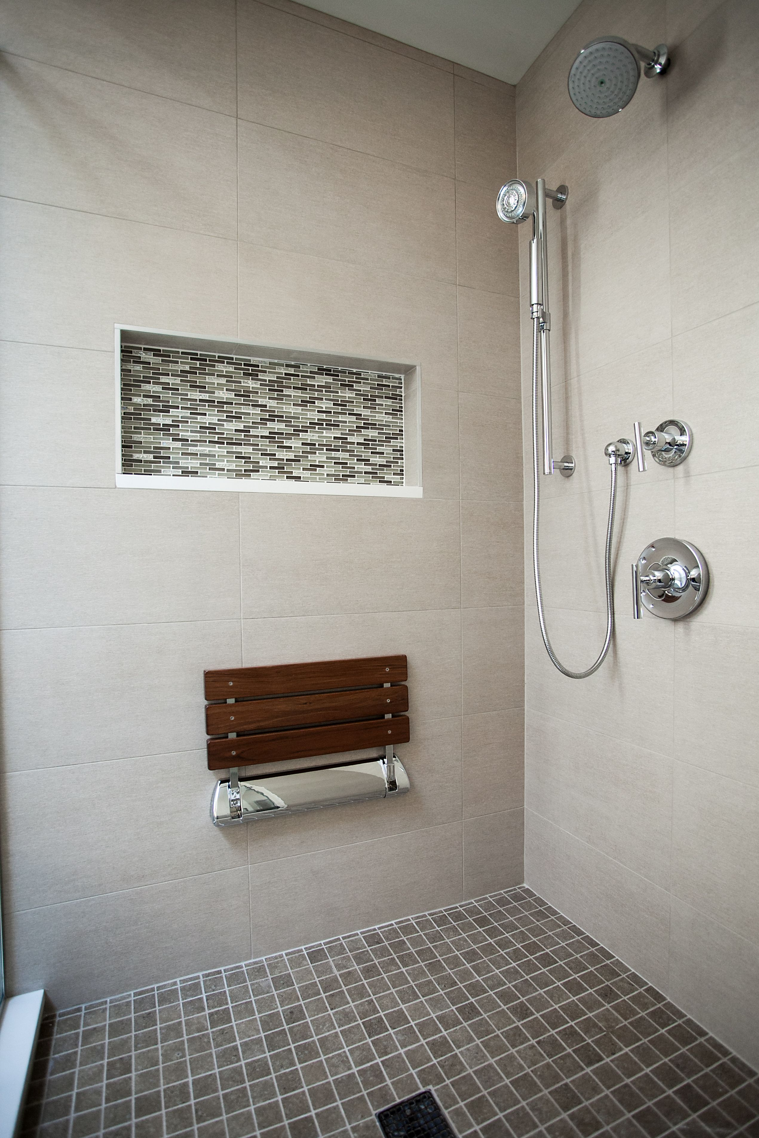 Contemporary Oasis In Naperville, IL Large Shower With Handheld Shower Head  On Slide Bar.