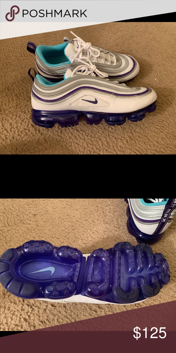 f5c2d80c8e NIKE AIR VAPORMAX 97 - WHITE/AQUA/VARSITY PURPLE Only wore once. Original  box not available. All sneakers kept in clear plastic containers.