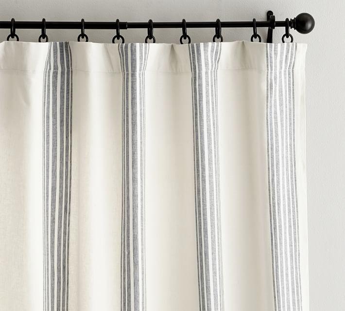 Riviera Striped Linen Cotton Rod Pocket, Navy Striped Curtains