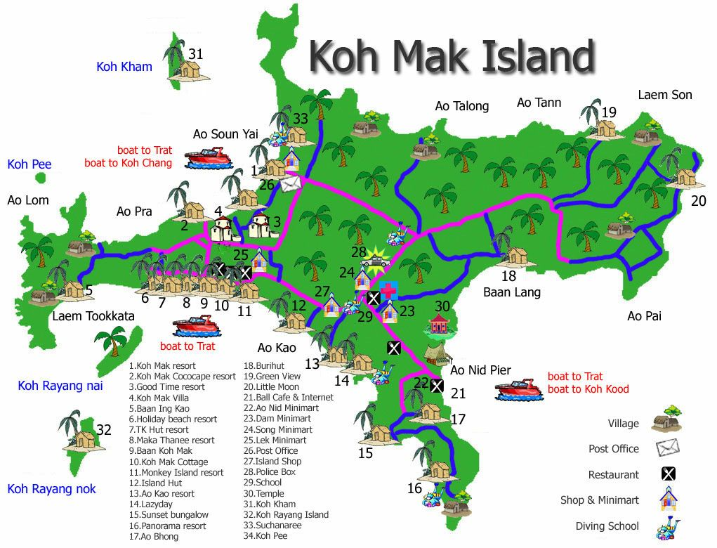 Koh Mak island map Lets Split South Asia edition Pinterest