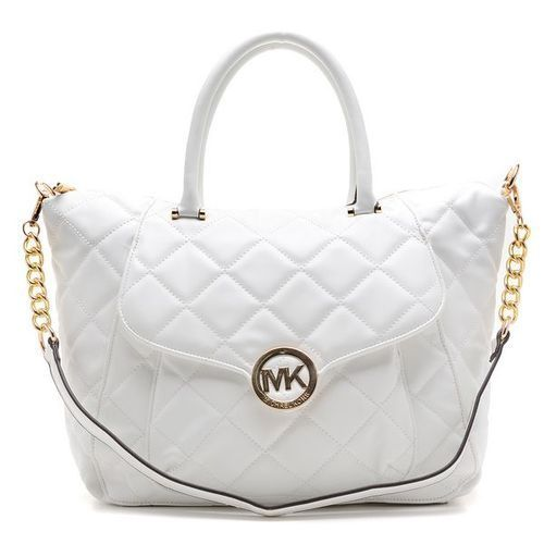 MICHAEL Michael Kors Satchel - Fulton Quilted White